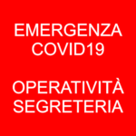 Emergenza Coronavirus, ridotta operatività della segreteria